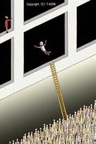 Window, Adventure person, Ladder, Crowd, Many people, Jet-black space