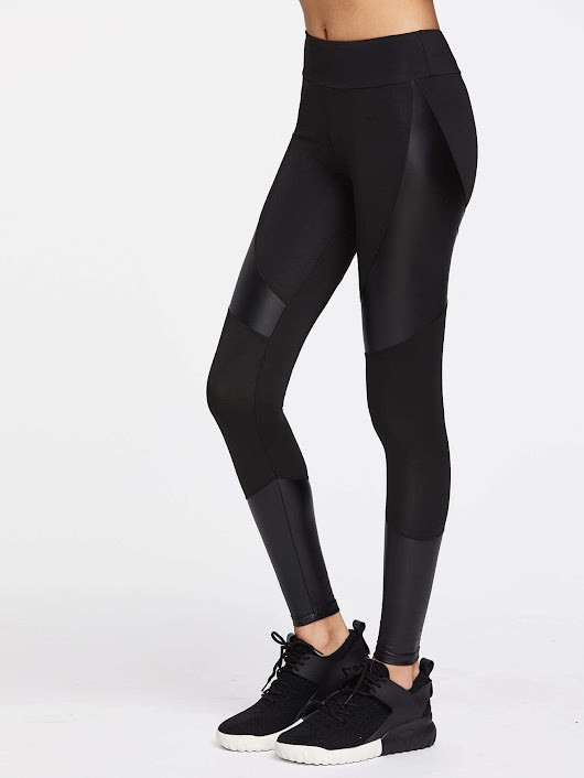 Contrast Pu Cut And Sew Sports Leggings