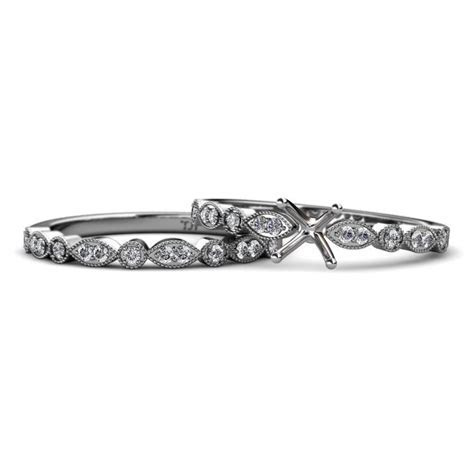 Diamond Four Prong Semi Mount Marquise and Dot Engagement