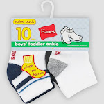 Hanes Toddler Boys' 10pk Athletic Socks - Colors May Vary 2T-3T, Boy's, Multicolored