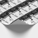 Cute snowman black & white illustration Christmas Wrapping Paper