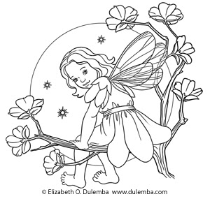 dulemba: Coloring Page Tuesday - Fairy in the Moonlight