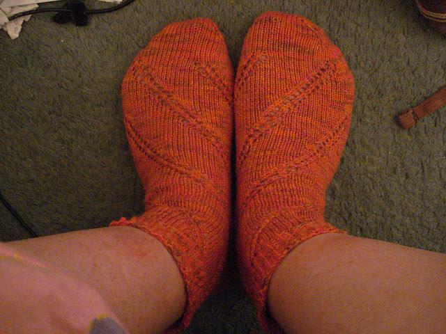 Finished orange cotton wool-free socks