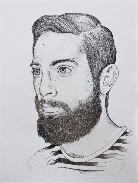 illustration drawing fineliner man beard marleen annema