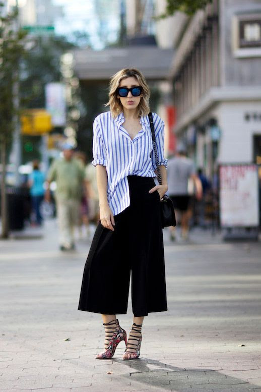 Le Fashion Blog 25 Ways To Wear A Striped Button Down Shirt Half Tucked Wide Leg Culottes Via The Fashion Site Sunglasses Strappy Sandals Blogger Style