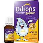 Ddrops Vitamin D3 Liquid Drops Booster, 600 IU, 100 CT,