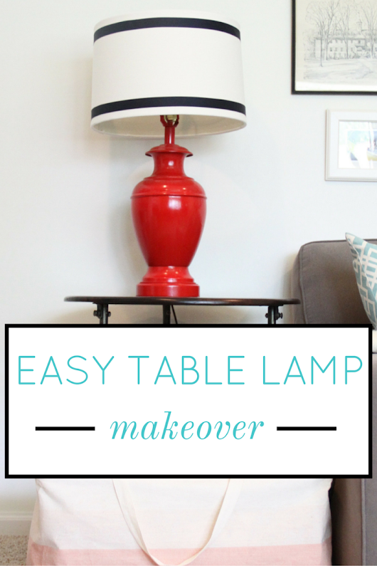 Easy Table Lamp Makeover with Spray Paint (and Ribbon)
