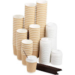 Disposable Coffee Cups Set - 100-Pack Kraft Paper 8-Ounce Insulated Ripple Cups with Lids and Stirring Sip Straws, Compostable Biodegradable Cups for
