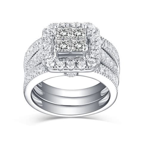 Tinnivi Women's Princess Cut White Sapphire 925 Sterling