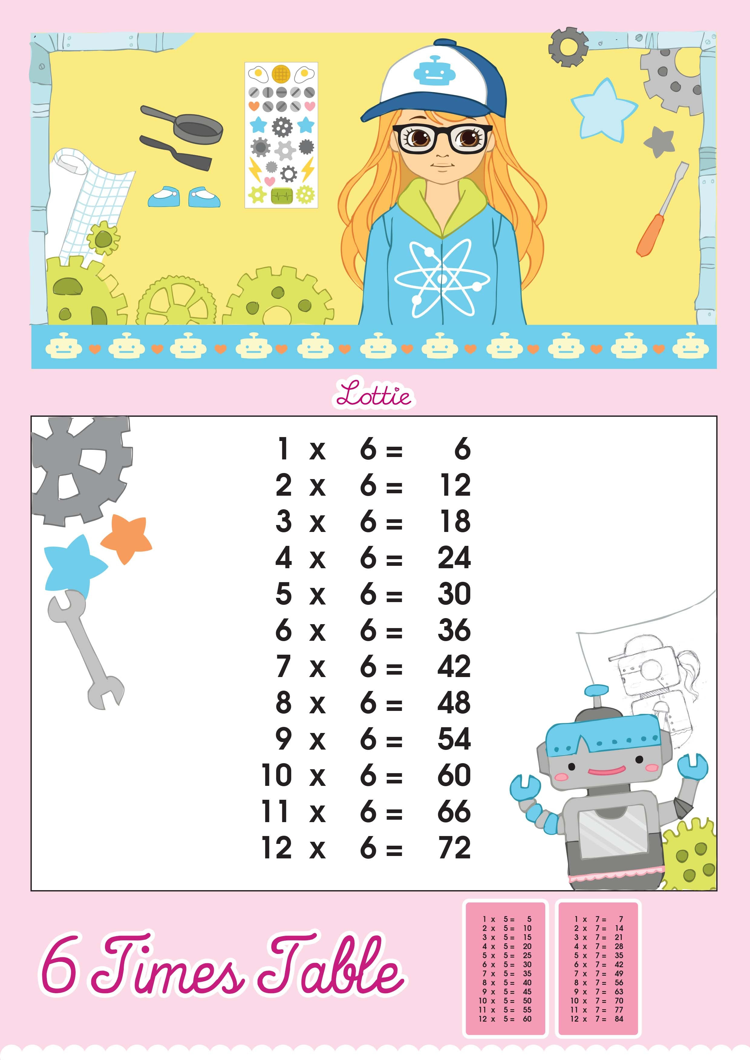 6 Times Table Printable Chart – Lottie Dolls