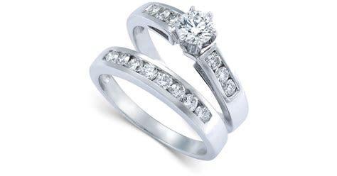 Macy's Diamond Engagement Ring Bridal Set In 14k White