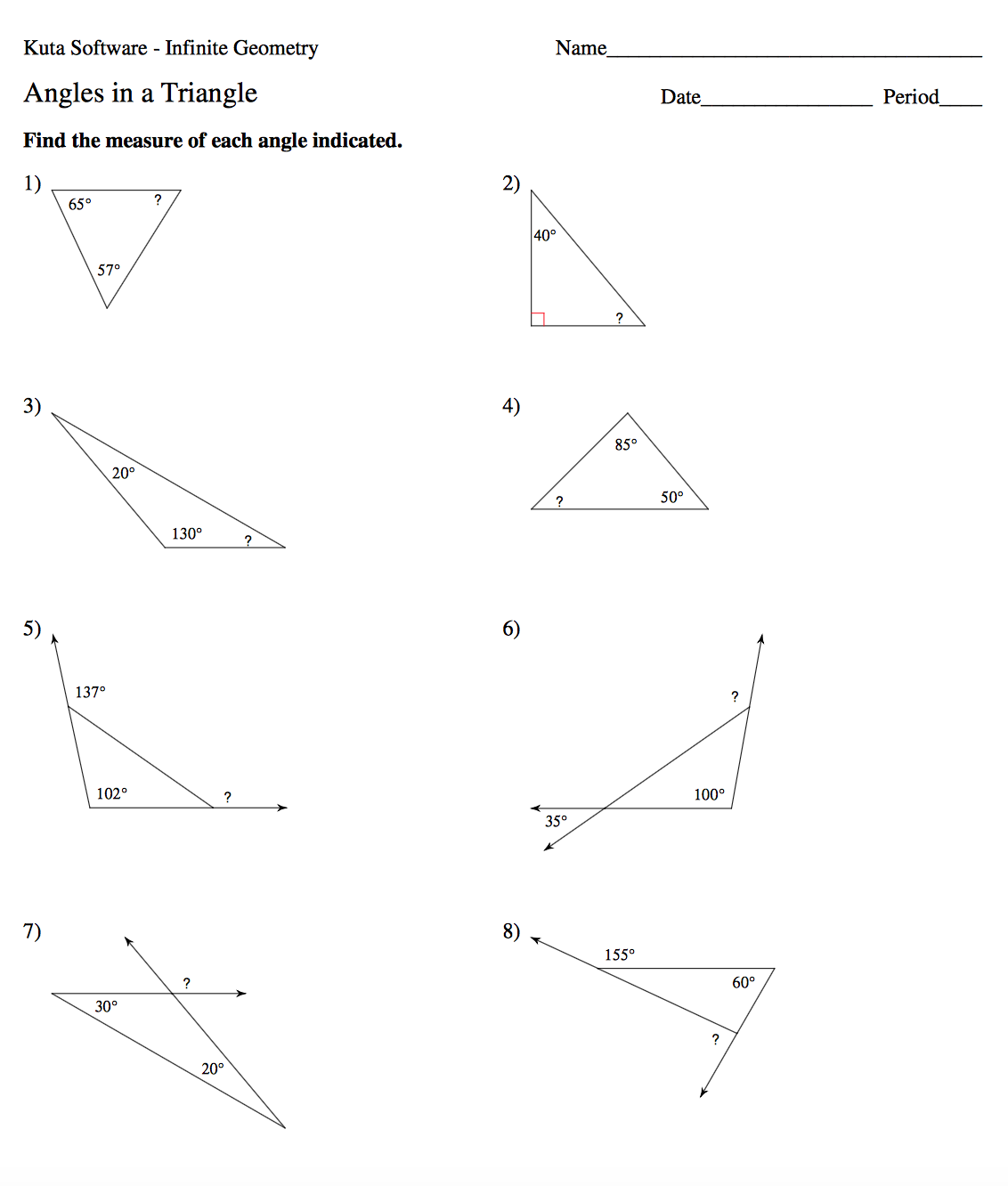 30 Angles Of Triangles Worksheet Answers - Worksheet ...