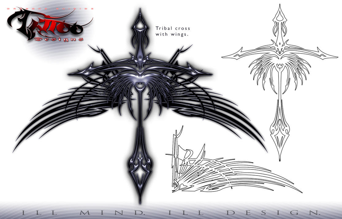 Tribal Cross With Tribal Wings Pics Download