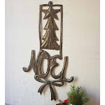 """Handcrafted Metal Noel Holiday Sign, 7""""W x 12""""H x .25""""D"""