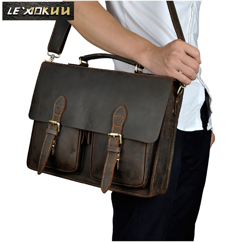 Hot wholesale Mens Crazy Horse Genuine Leather cowhide vintage Briefcases 14' Laptop Business Portfolio Messenger Bags 1016