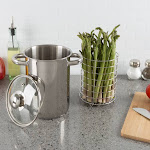 Classic Cuisine Asparagus Steamer Pot with Mesh Basket-3 Quart Stainless Steel Vegetable Cooker with