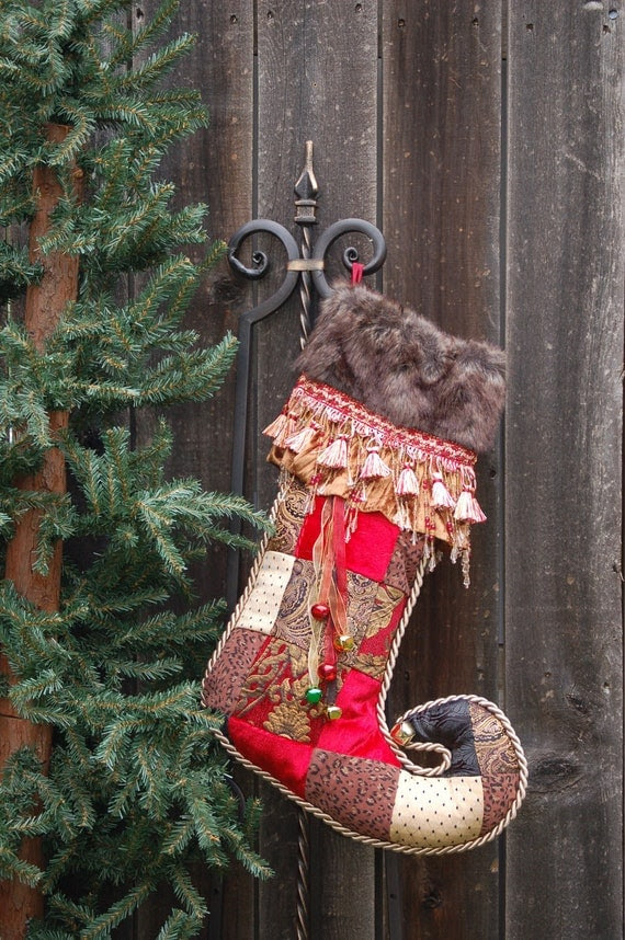 Harlequin or Jester Toed Christmas stockings 1042