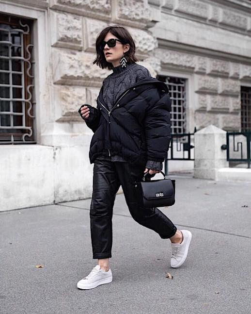 Le Fashion Blog Minimal Cool Sunglasses Black Puffer Coat Grey Chunky Knit Leather Cropped Pants Sneakers Via @ viennawedekind