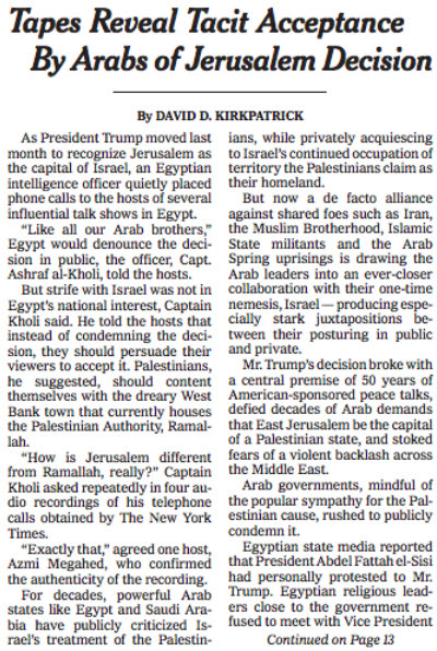 Tapes Reveal Tacit Acceptance By Arabs of Jerusalem Decision