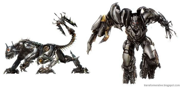 Concept artwork showing Ravage and Megatron from TRANSFORMERS: REVENGE OF THE FALLEN.