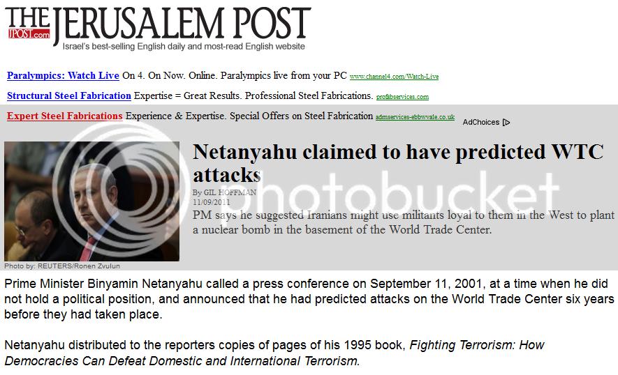NetanyahuBoastPredicted911
