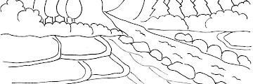 Sketsa Gambar Pemandangan Sungai