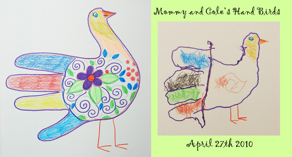 Cole and Mommy - hand art birds