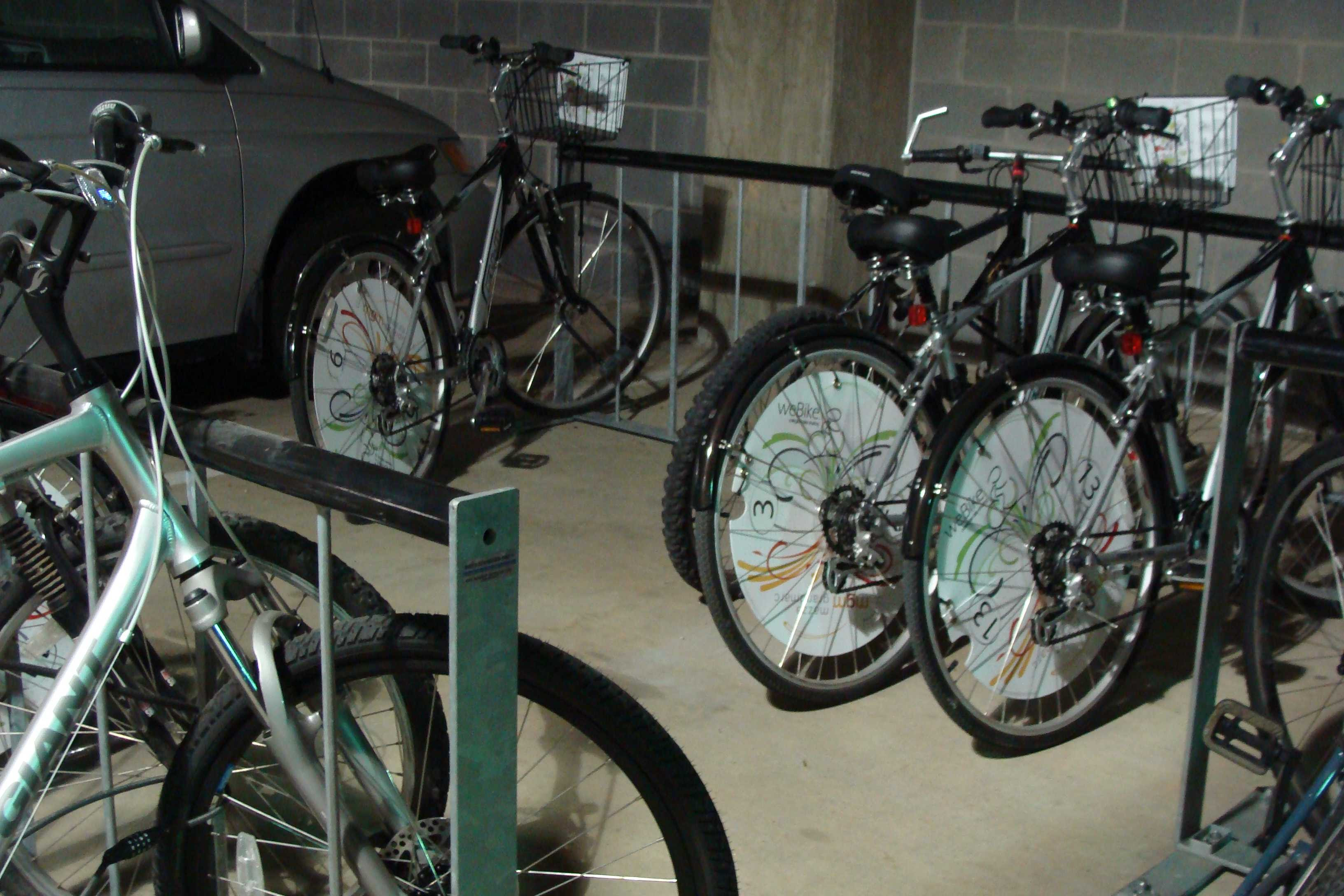 """weBike uses SMS texting to identify bikes and rotate lock combinations, minimizing bike share costs and the need for """"stations."""" Photo credit: weBike."""