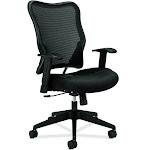 basyx by HON HVL702 - Chair - task - armrests - T-shaped - tilt - swivel - plastic, fabric, sandwich mesh - black