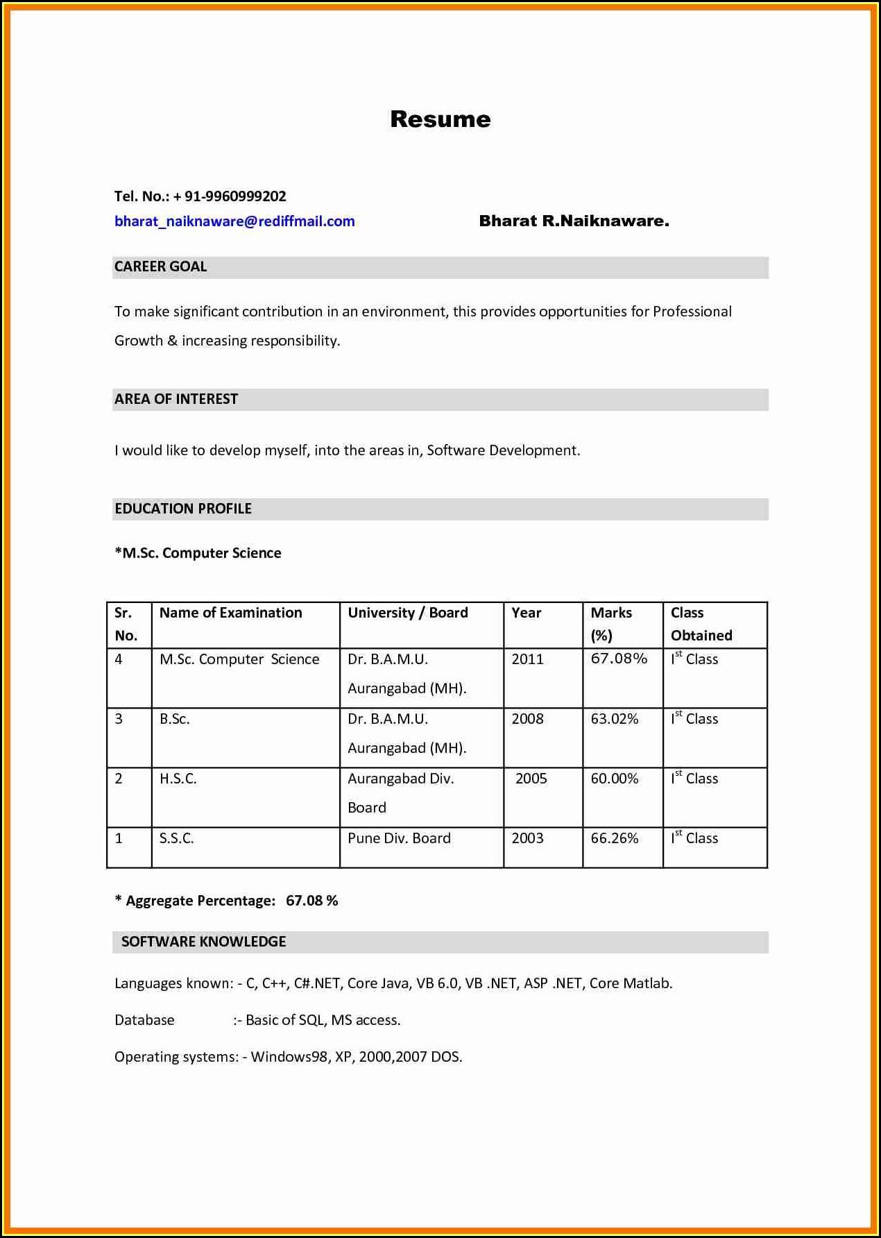 bsc resume format pdf download  best resume examples