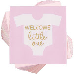 Baby Shower Cocktail Napkins - Welcome Little One Disposable Paper Party Napkins, Perfect for Girl Baby Shower Decorations and Gender R...