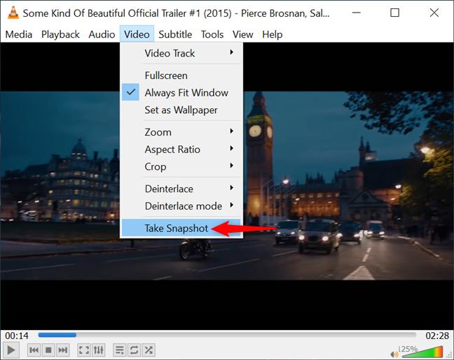 La opción VLC Take Snapshot en el menú Video