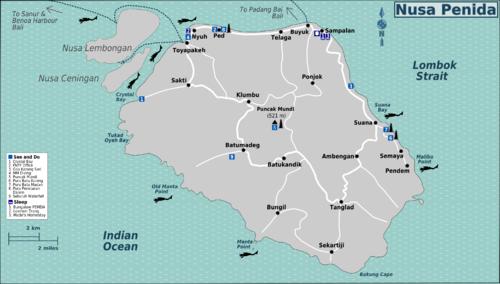 Detail Nusa Penida Bali Location Map for Tourists Guide,Location Map of Nusa Penida Bali,Friends of the National Parks Foundation Bird Sanctuary, South Coast Cliffs, Sebuluh Waterfall, Pura Batu Kuning and Pura Batu Medahu, Mundi Hill or Puncak Mundi, Ped village/Pura Penataran Ped, Karangsari Cave/Goa Giri Putri, Crystal Bay,Nusa Penida Hotels and Accommodation Destinations Surf Dive Map