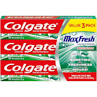 Colgate MaxFresh Toothpaste, Anticavity Fluoride, with Whitening Breath Strips, Clean Mint, Value 3 Pack - 3 pack, 6.0 oz tubes