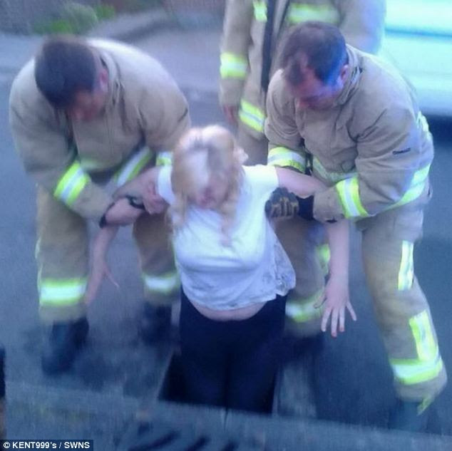 Miss Birchenough was eventually hoisted to safety after he attempt to get her phone went wrong