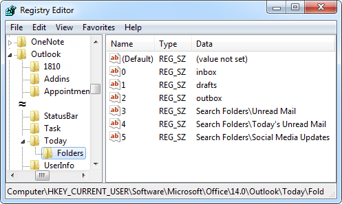 Adding Search Folders to Outlook Today | MSOutlook.info