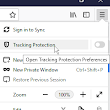 How to disable Tracking Protection Option in Firefox Menu