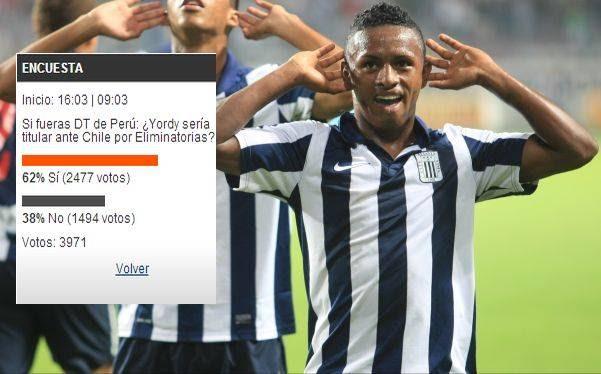 El 62% de lectores de elcomercio.pe quiere a Yordy Reyna de titular ante Chile