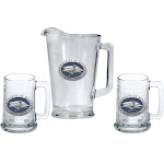 University of Nevada Reno Pitcher and 2 Stein Glass Set Beer Set
