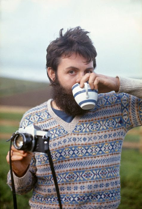 Paul McCartney, heroic beard, hot beverage