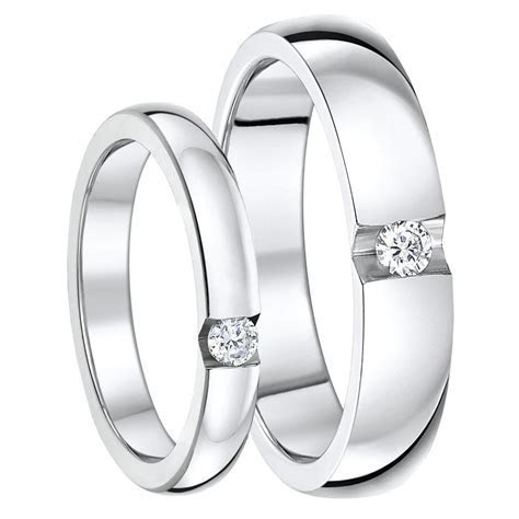 His & Hers 3&5mm Titanium Rings CZ Stone Engagement