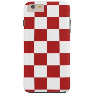 Red and White Checkered Pattern iPhone 6 Plus Case