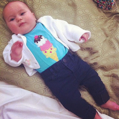 Skinny jeans and a cardigan...just like mama!