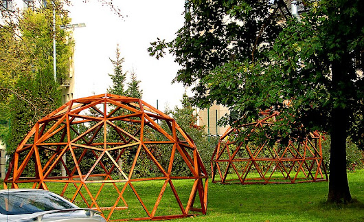 Riga Daily Photos: Two dome shaped pergolas in a schoolyard in Riga city centre.