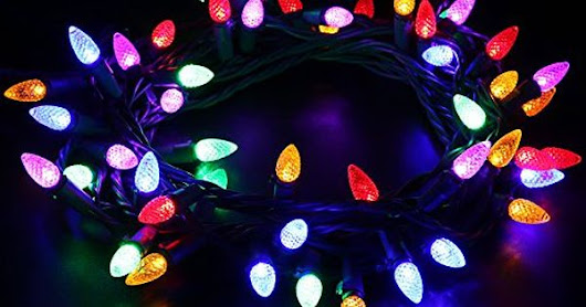 [UL Listed]MAXINDA (TM) Connectable LED String Lights,Diamond Strawberry 18 feet 50 LEDs Colored Christmas Light Strands C3 Bulbs for Patio Garden Holiday Indoor Outdoor Decorating