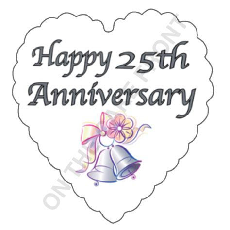 Happy 25th Anniversary Silver text cupcake toppers wafer