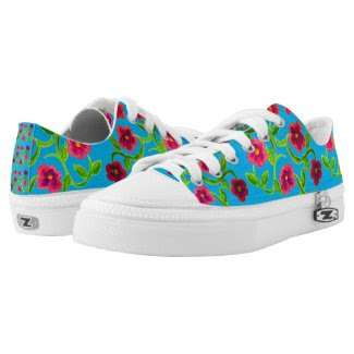 Petunia Flowered Sneakers with Blue Blackground Printed Shoes