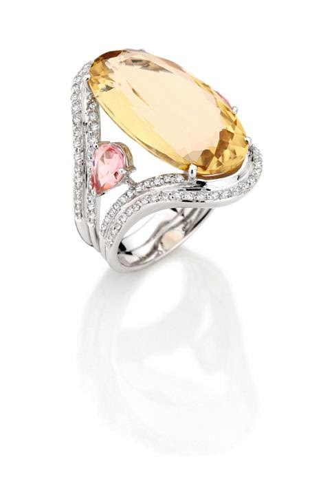 "Brumani  -  Ring from ""Renaissance"" Collection in white gold with diamonds, champagne citrine and pink tourmaline."