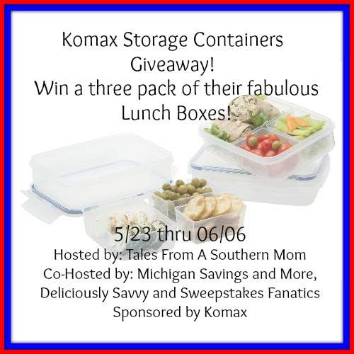 Enter the Komax Storage Containers Giveaway. Ends 6/6