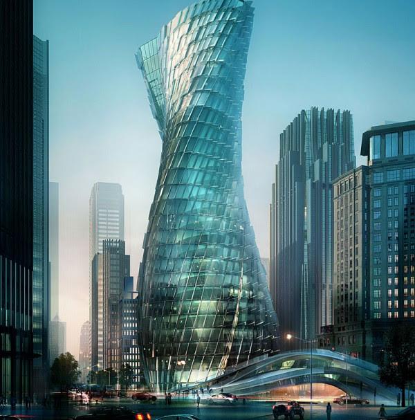 twisting tower shanghai 0 600x607 14 Futuristic Building Designs in China